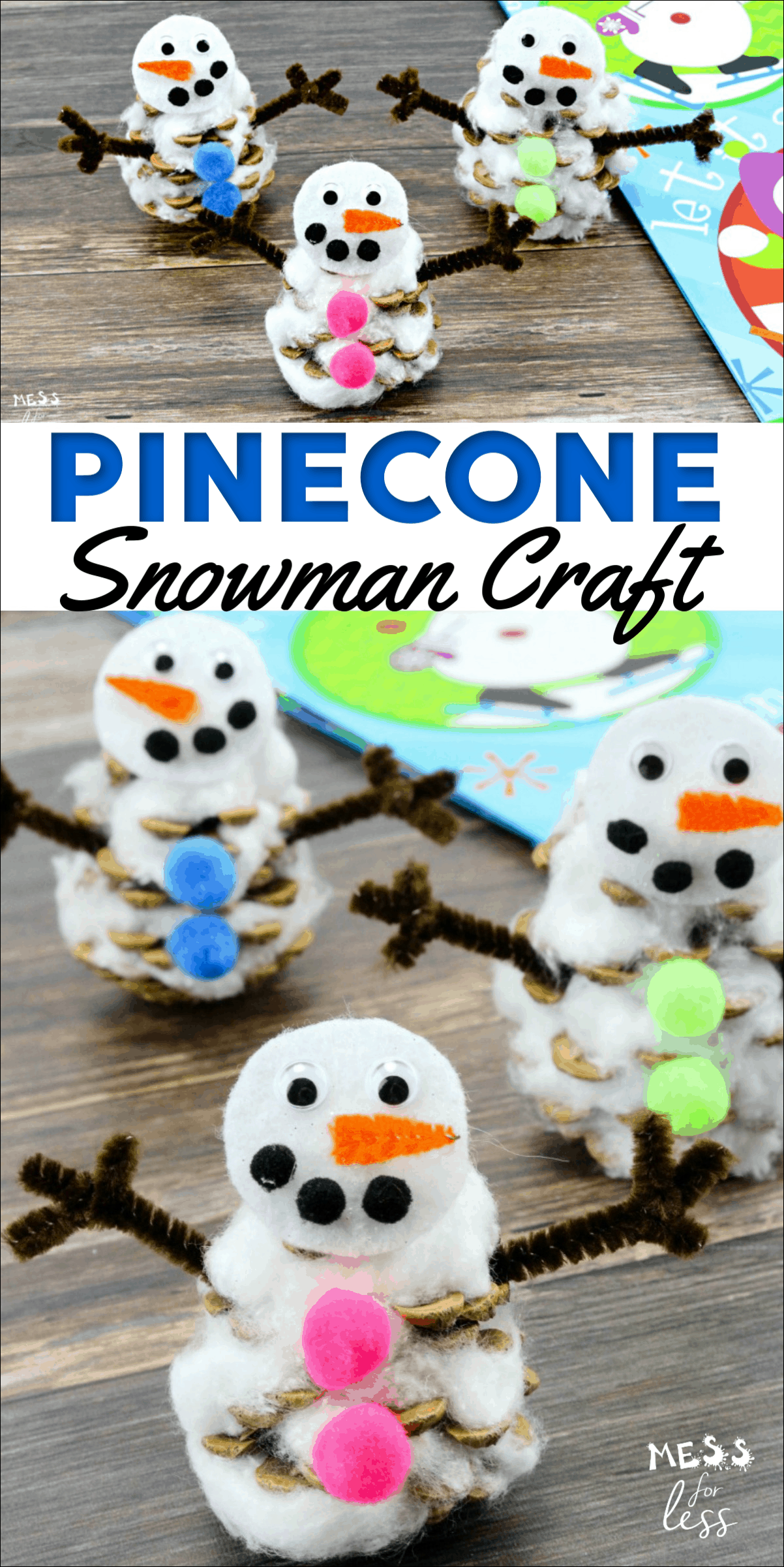 This pinecone snowman craft is easy to make, and can be used in so many different ways. Check out how easy it is to transform an ordinary pinecone into an adorable winter snowman. #snowmancraft #wintercraft #kidscrafts