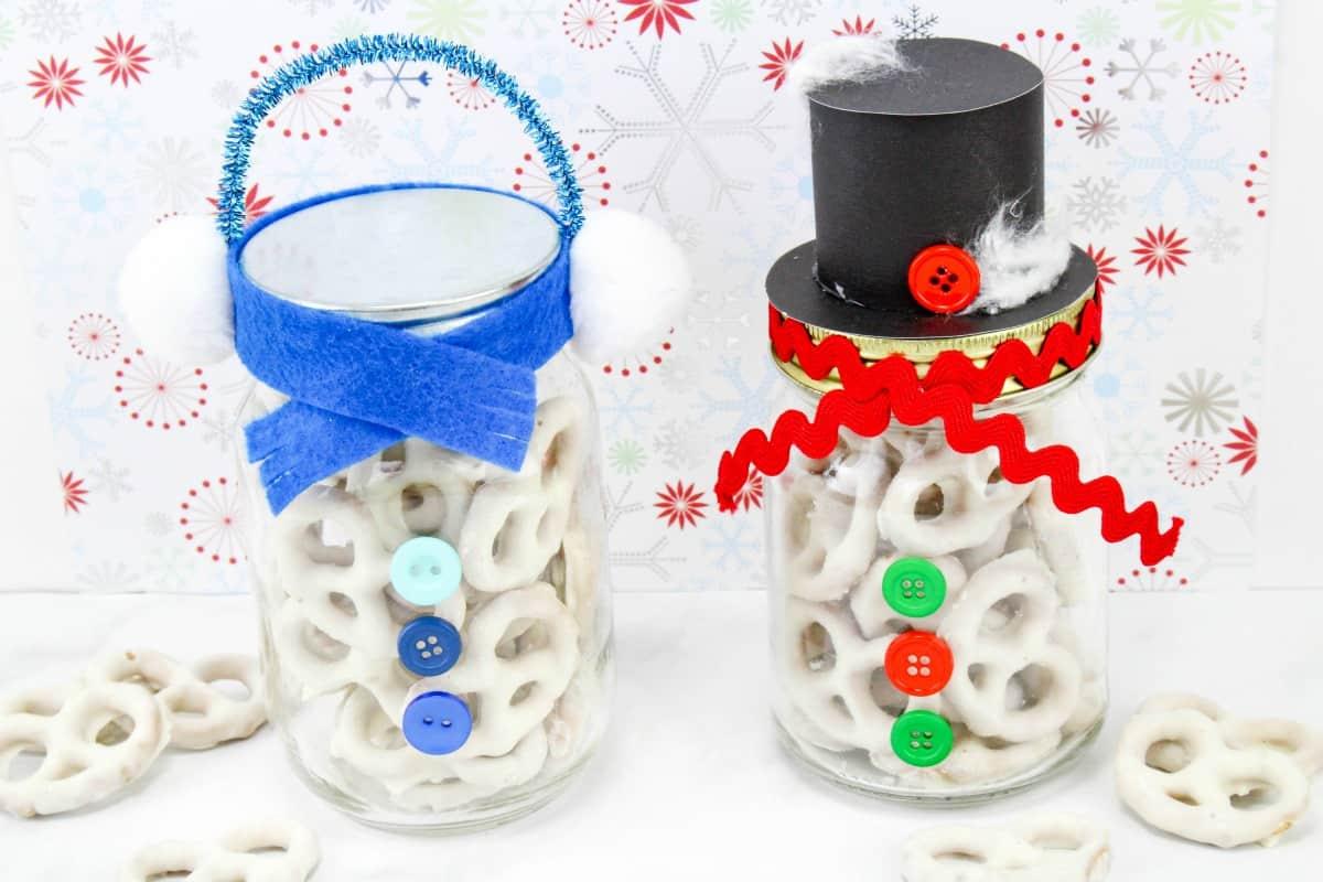 snowman pretzel mason jars