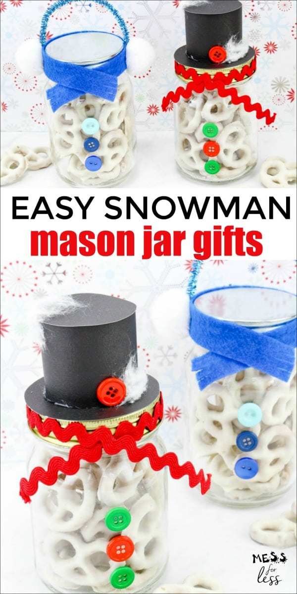These Snowman Pretzel Mason Jars make the perfect small, thoughtful gift. They are simple to make and are just too cute! #Christmas #Christmasgift #homemadegifts #masonjars