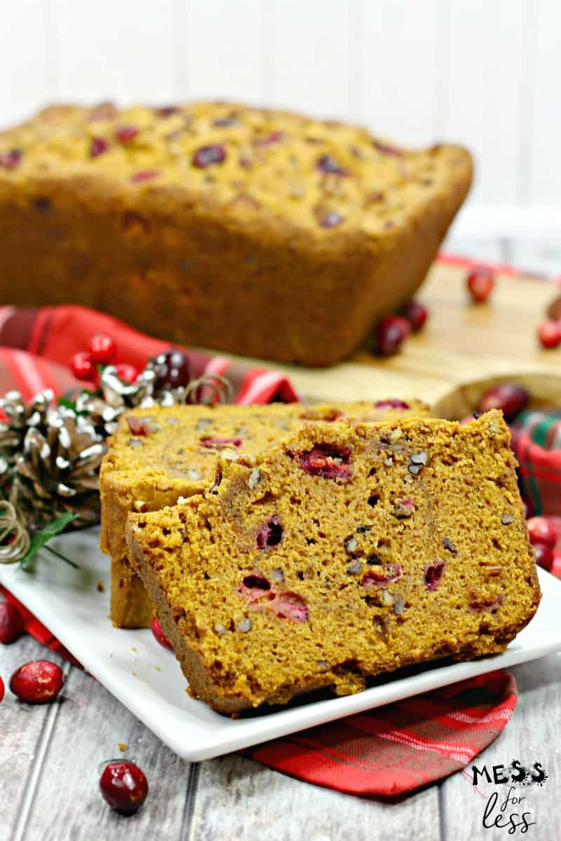 slice cranberry pumpkin bread