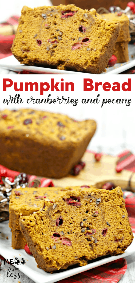 This Cranberry Pumpkin Bread Recipe can be made for the holidays or for any time of year. It is moist and sweet and the cranberries really add a nice zing. If you are a fan of pumpkin bread, you must try this variation! #pumpkin #pumpkinbread #pumpkinrecipe