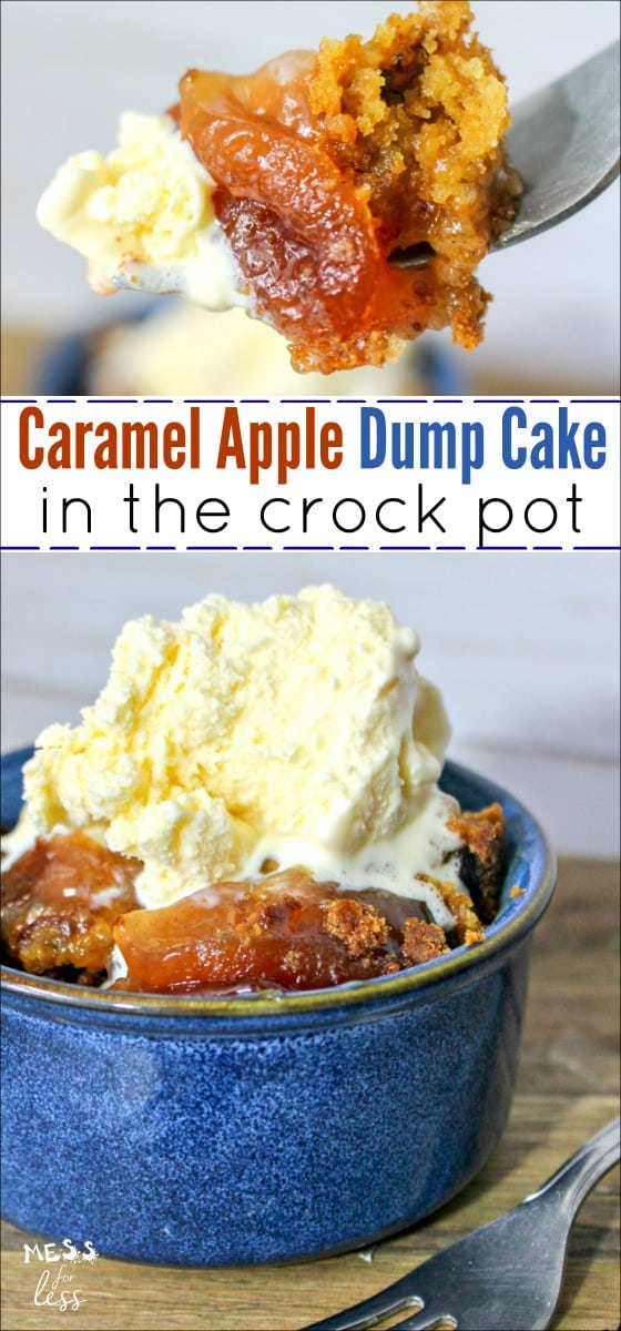 You probably know that a crock pot makes dinner prep a breeze, but did you know you can also use it to make simple and delicious desserts? This Crock Pot Apple Dump Cake with Salted Caramel is one of the easiest desserts you can make. #crockpot #slowcooker #dumpcake