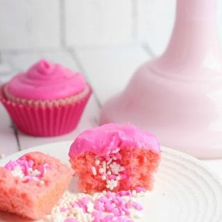 Valentine's Day Cupcakes Filled with Sprinkles