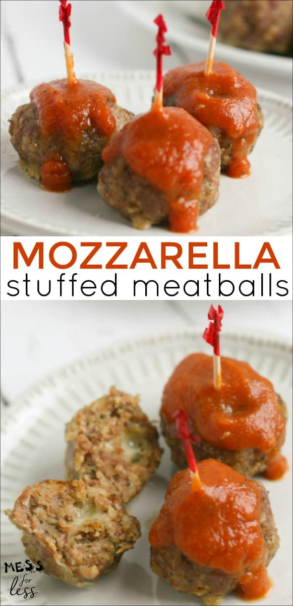 Are you looking for an easy and yummy appetizer idea to serve at your next gathering? Well, your search is over, because these Baked Mozzarella Stuffed Meatballs are an easy, cheesy crowd pleaser. #meatballs #recipes #easyrecipe