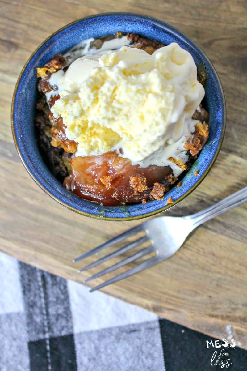 Crock Pot Apple Dump Cake with Salted Caramel with vanilla ice cream