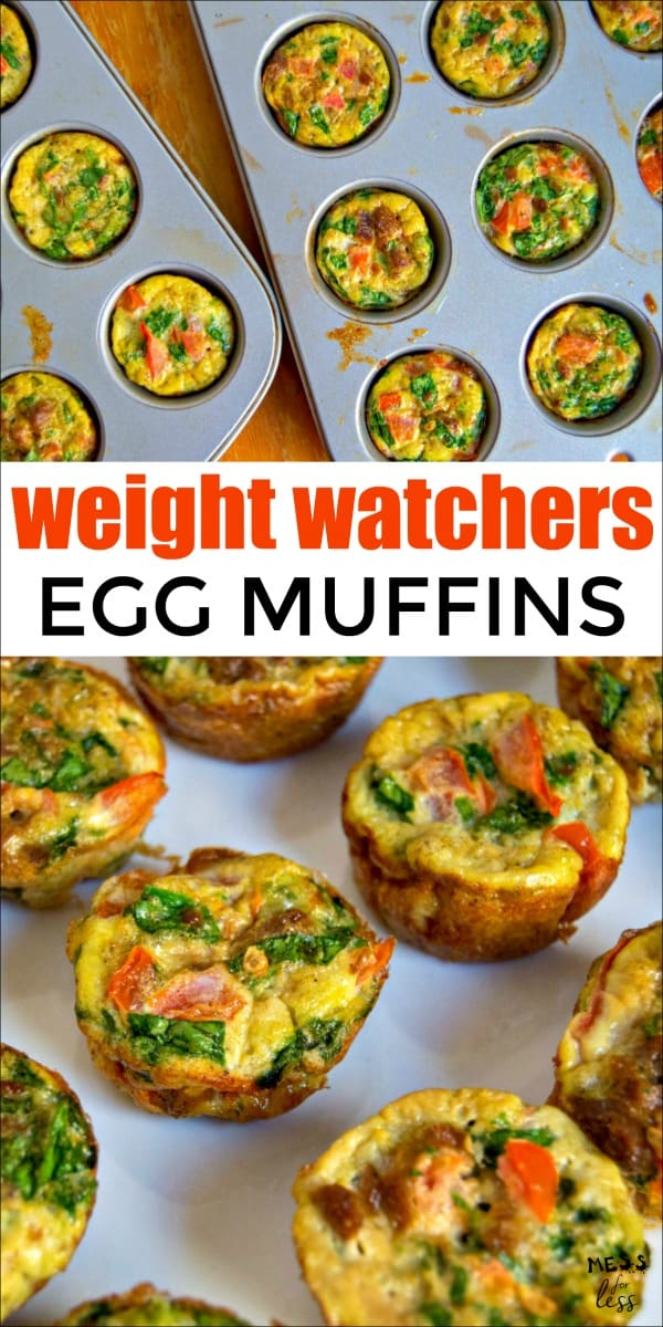 These Weight Watchers Egg Muffins make the perfect low point breakfast. Just 1 point for 4 muffins! This protein filled breakfast will keep you satisfied and on plan. #weightwatchers #freestyle #weightwatchersrecipes #breakfast #eggrecipe