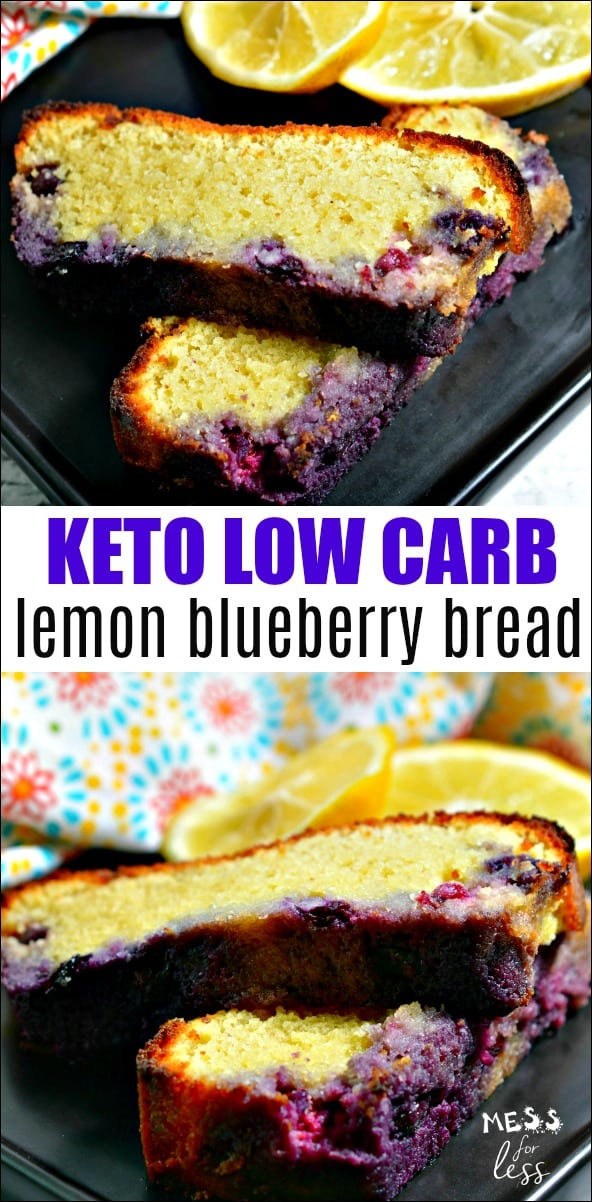 This Keto Low Carb Lemon Blueberry Bread will help satisfy those cravings for baked goods in a way that keeps you on program. The fresh lemon and blueberry flavors make this perfect to serve with a cup of tea or coffee. Click to get the recipe! #keto #lowcarb #ketorecipes #lowcarbrecipes