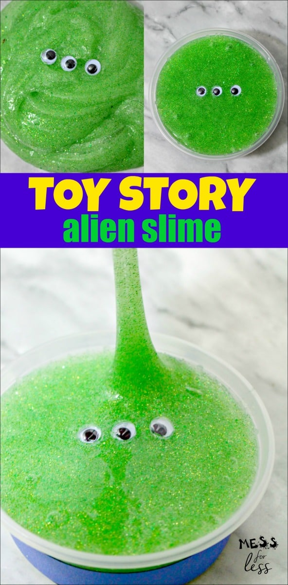 This Alien Toy Story Slime is super fun for kids to make and it is based on a beloved character from the series. It would be a great party favor for a Toy Story themed party. #slime #alienslime #slimerecipe
