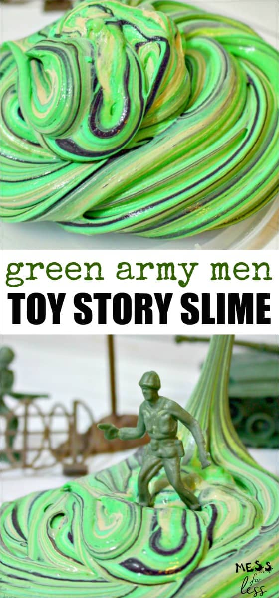 This Army Man Toy Story Slime is based on the green army men from Toy Story that have become so popular. It would be a great party favor for a Toy Story themed party. Click to get the recipe! #slime #slimerecipe #toystoryslime