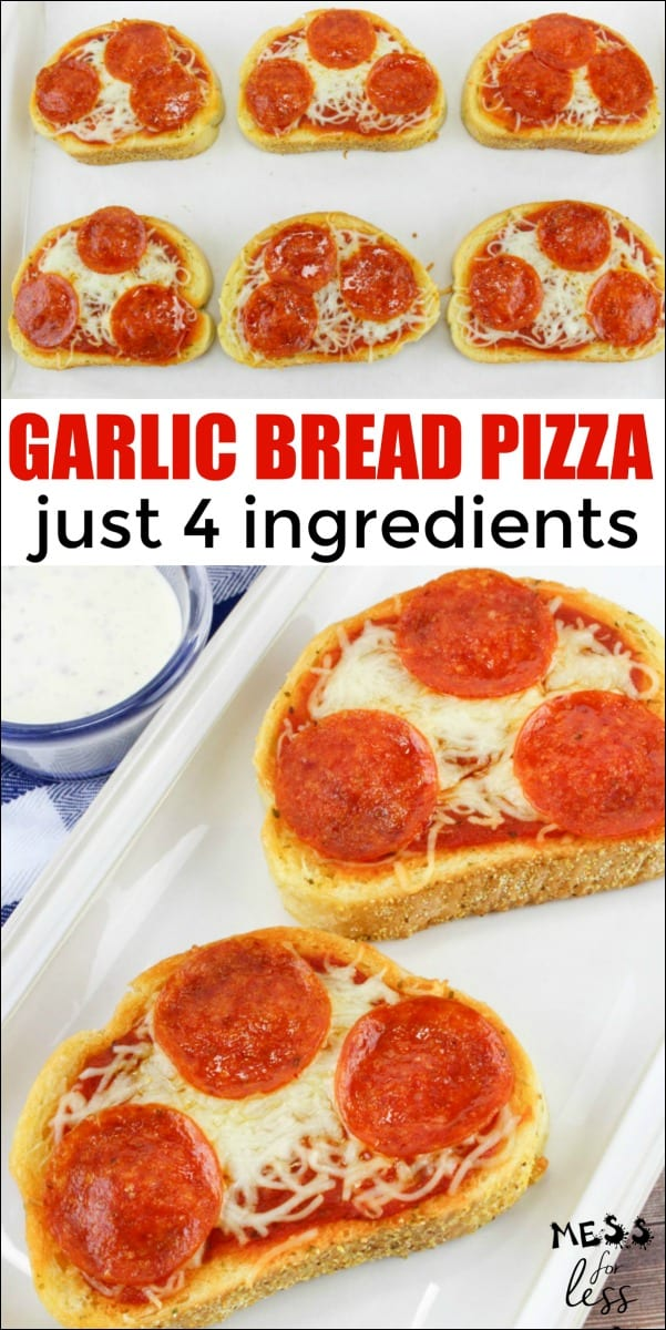 This Easy Garlic Bread Pizza is the perfect recipe to make with kids. With just four ingredients, and ten minutes of cook time, this Texas Toast Pizza will become a favorite in your house! Click to get the easy recipe. #kidscooking #pizzarecipe #cookingwithkids #easyrecipe