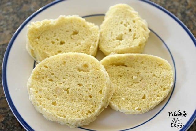 sliced keto bread on a white plate