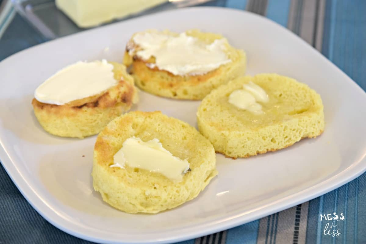 sliced keto bread with butter and cream cheese