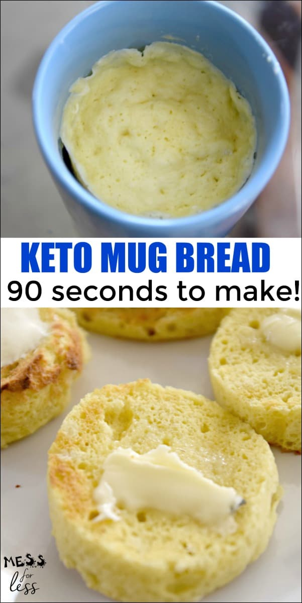 This Keto Bread in a Mug can be made with just a few ingredients and in under two minutes. It doesn't get much easier than that! Click to get the simple recipe. #keto #ketorecipe #mugbread