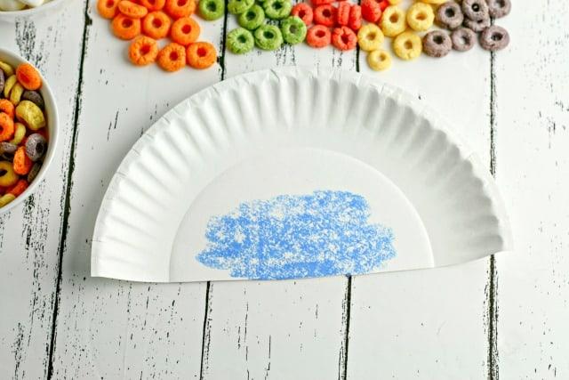 paper plate colored blue