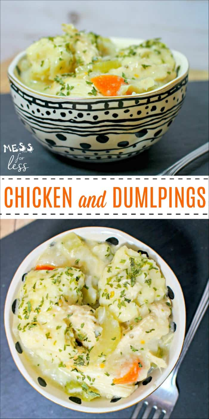 This Chicken and Dumplings Recipe is pure comfort food and is sure to become a favorite in your home. It combines the goodness of chicken soup with dumplings made from a biscuit type dough. #recipe #chickenanddumplings