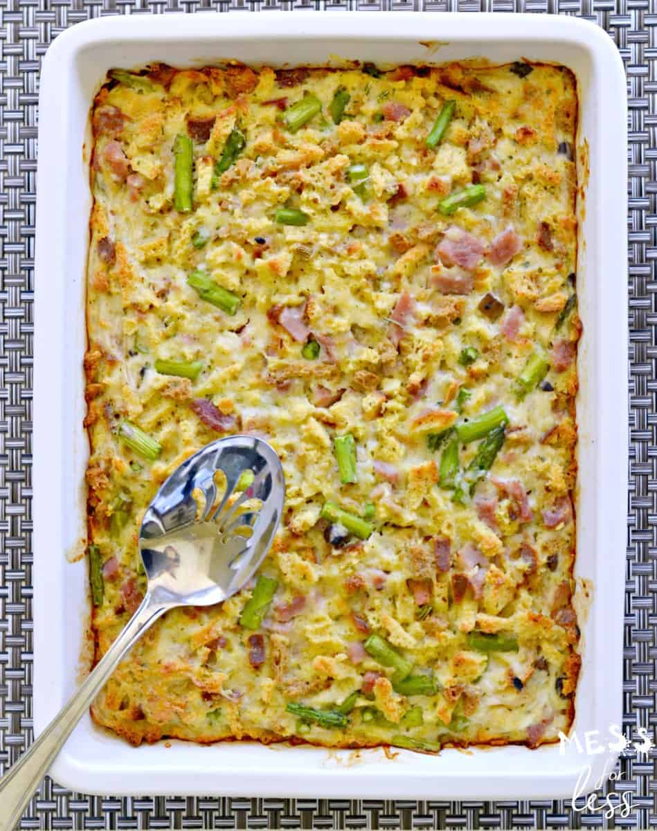 ham and asparagus casserole recipe in a pan