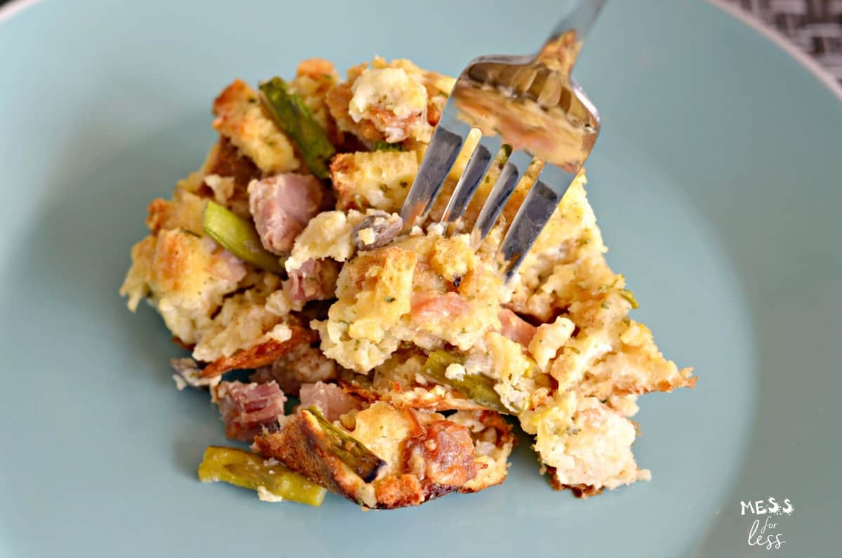 ham and asparagus casserole recipe with fork