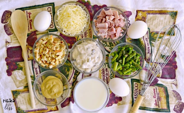 ingredients for ham and asparagus casserole