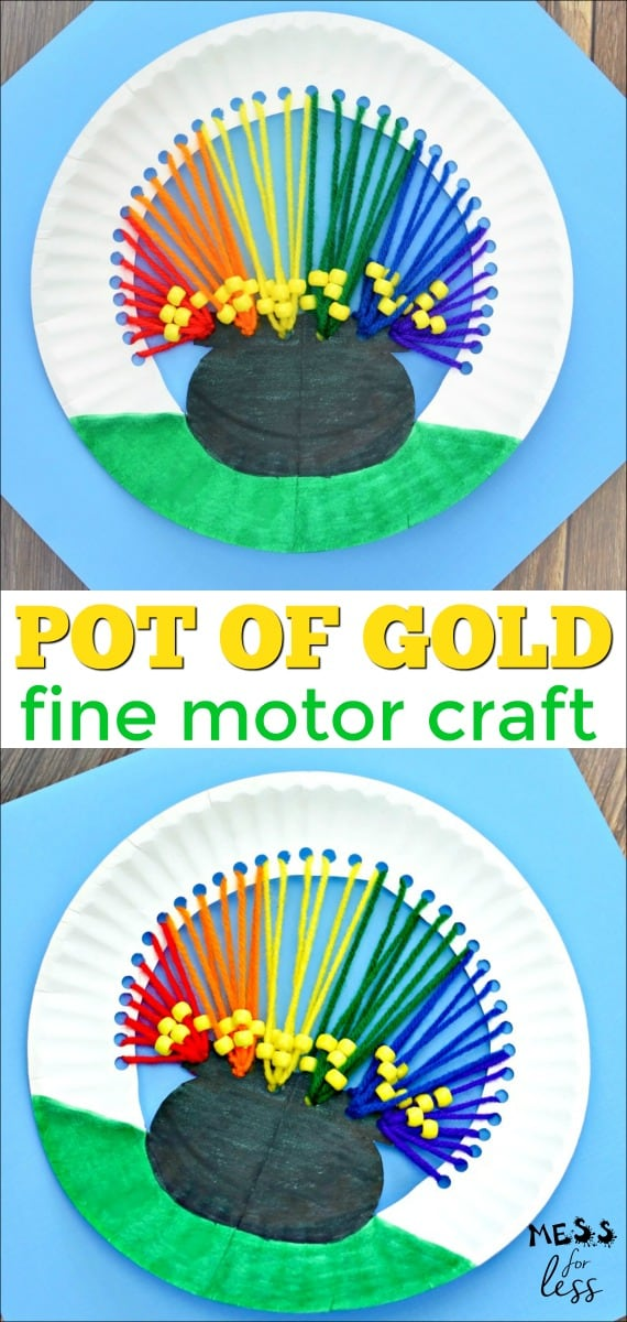 This pot of gold craft is deigned to keep kids having fun this St. Patrick's Day while working on their fine motor skills. #stpatricksday #finemotoractivity #finemotor #stpatricksdayactivity #stpatricksdaycraft