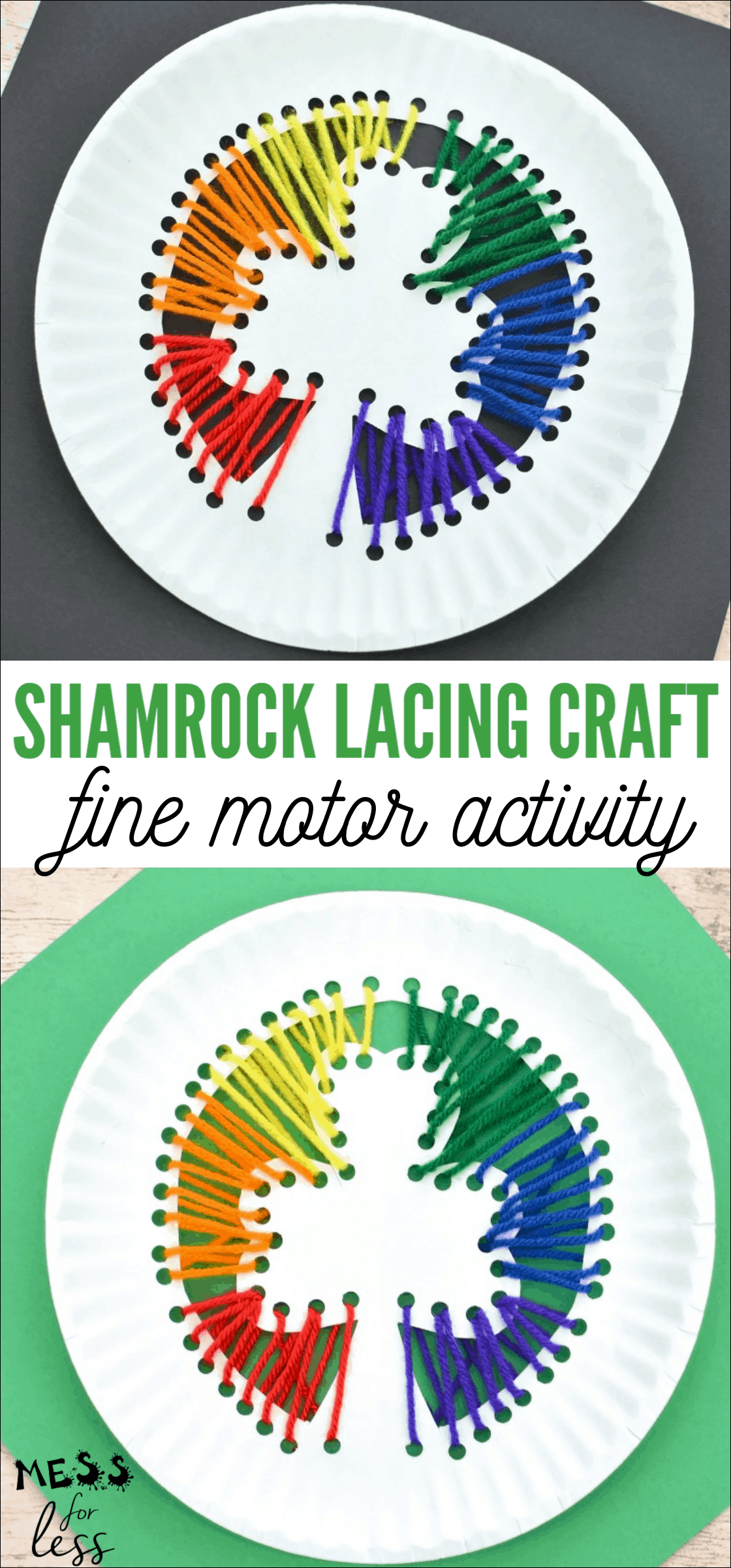 This Shamrock Lacing Craft gives kids the chance to create an eye catching shamrock while working on those all important fine motor skills. #Stpatricksday #finemotoractivity #stpatricksdaycraft
