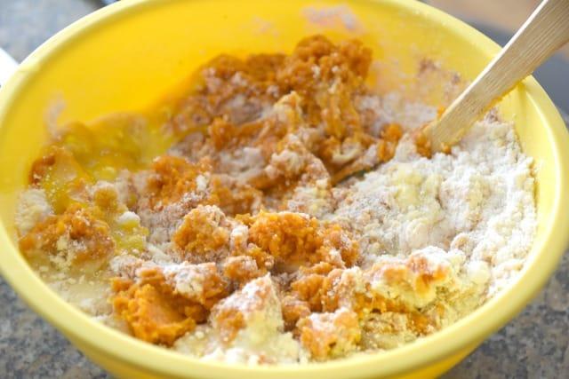 mixing pumpkin muffin batter