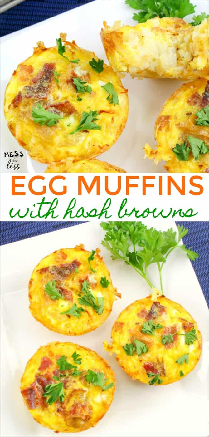If you are short on time, these Breakfast Egg Muffins with Hash Browns will be a lifesaver to you! By making them ahead of time and refrigerating or freezing them, you can have a yummy and filling breakfast any morning you desire! #breakfast #breakfastrecipe #eggmuffins
