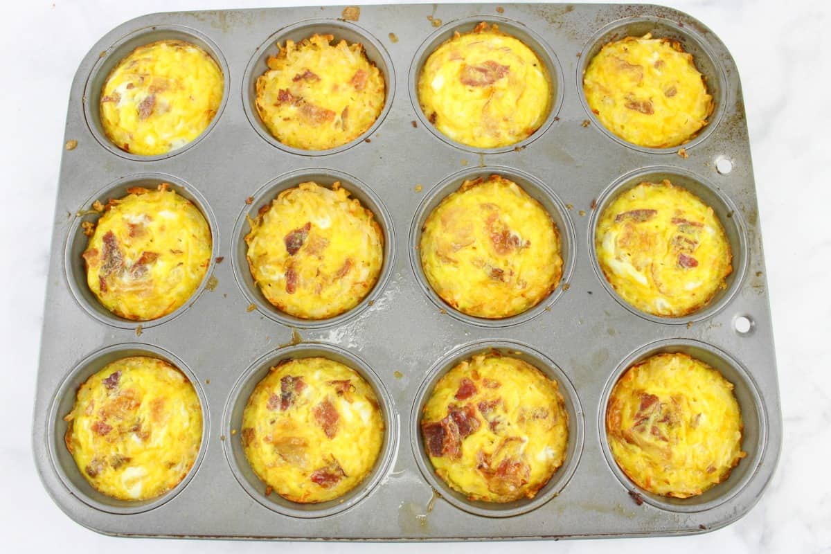 Breakfast Egg Muffins with Hash Browns in a muffin pan