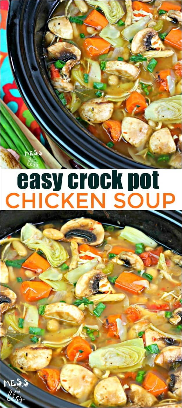 This Easy Crock Pot Chicken Soup is so comforting, especially when you are under the weather. The soup is easy to make thanks to the slow cooker and a supermarket shortcut. #recipe #crockpot #slowcooker #chickensoup