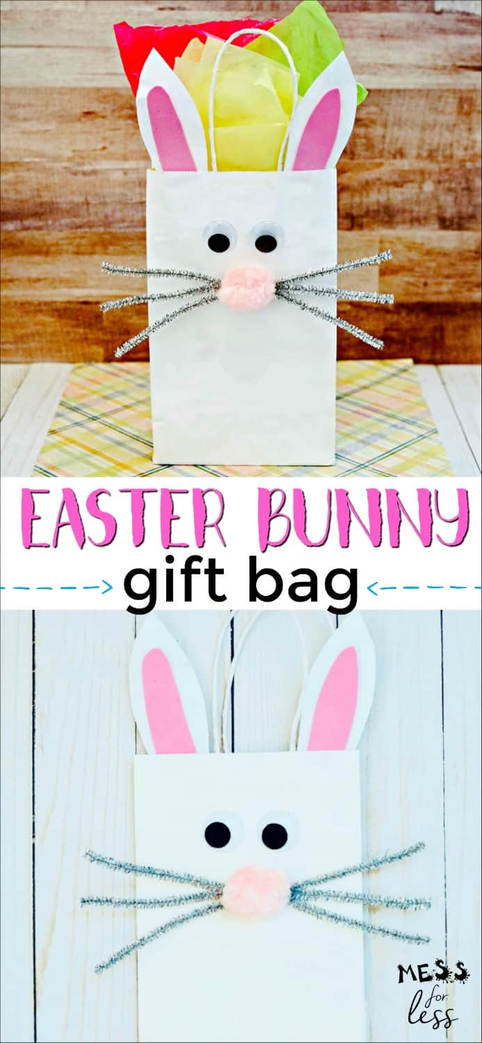 Are you looking for a fun Easter craft for kids and a cute way to deliver Easter treats? Then you will love learning How to Make an Easter Bunny Gift Bag. This simple, whimsical craft is a fun way to celebrate Spring. Just a few basic supplies are all you need to create this eye catching gift bag. #easter #eastercraft #bunnygiftbag