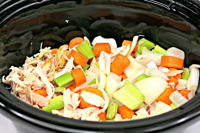 ingredients for chicken soup in the slow cooker
