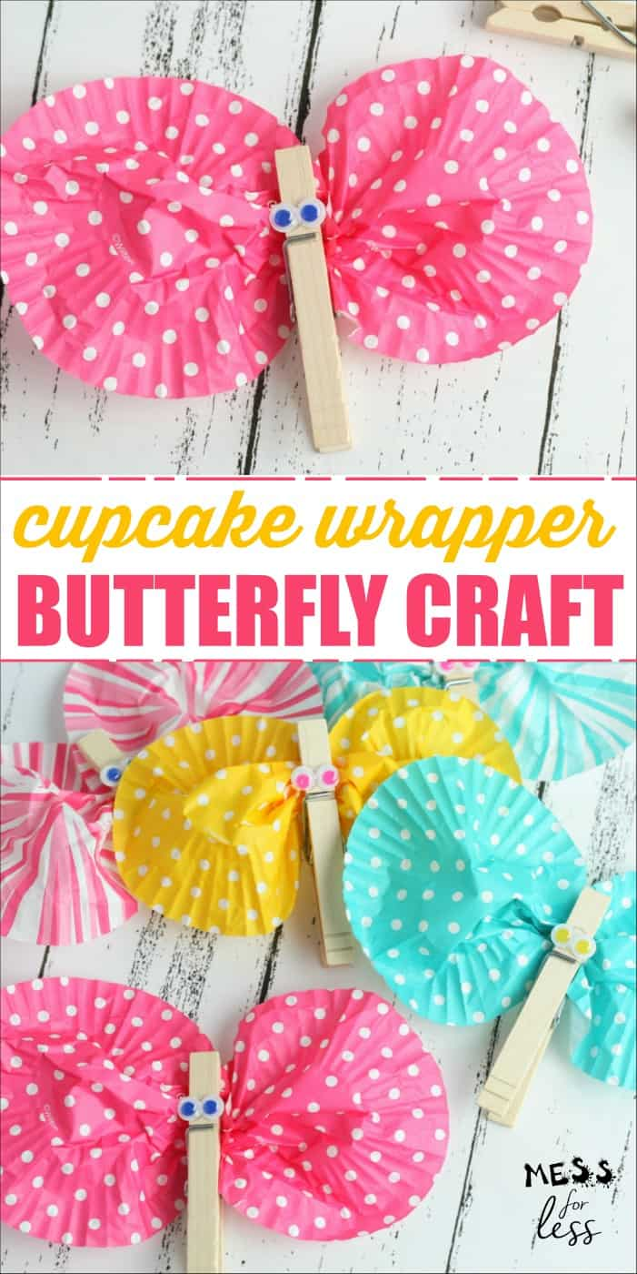 This Cupcake Wrapper Butterfly Craft is perfect for Spring! It is easy for kids to make and enjoy. Such a fun kids craft! #kidscraft #butterflycraft #butterflyactivity