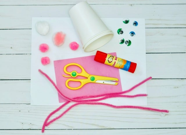 supplies to make an Easter Bunny Cup craft