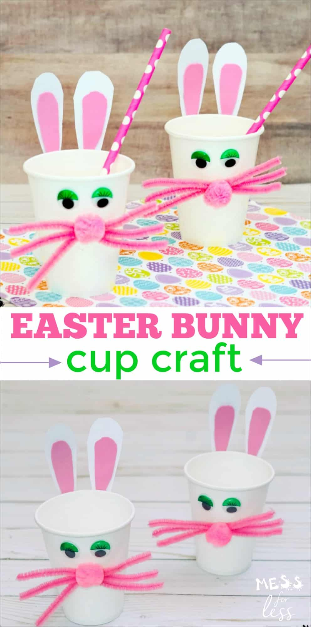 There is no better way to spend an afternoon than crafting with kids. This Easter Bunny Cup Craft is perfect to make with children because it is fairly simple and straightforward. Plus at the end, you are left with an adorable decoration that can be used as a treat holder.