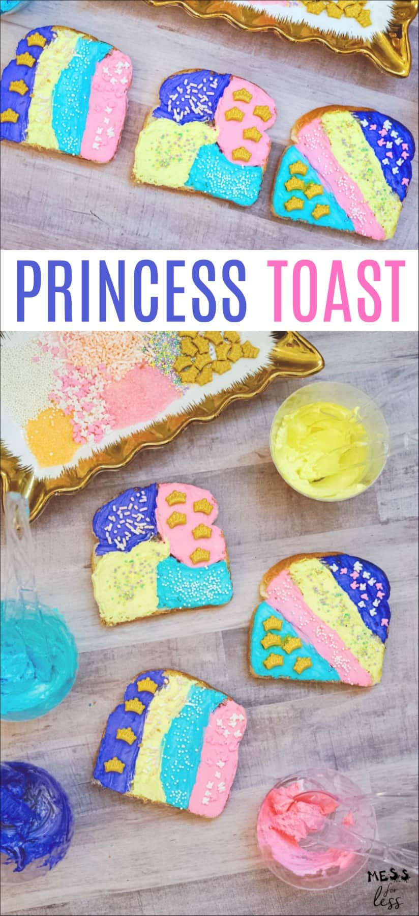 This Princess Toast would be wonderful to serve at a play date, and if you are having a princess party, this would perfect for the guests to make and eat! #princesstoast #kidssnack #cookingwithkids