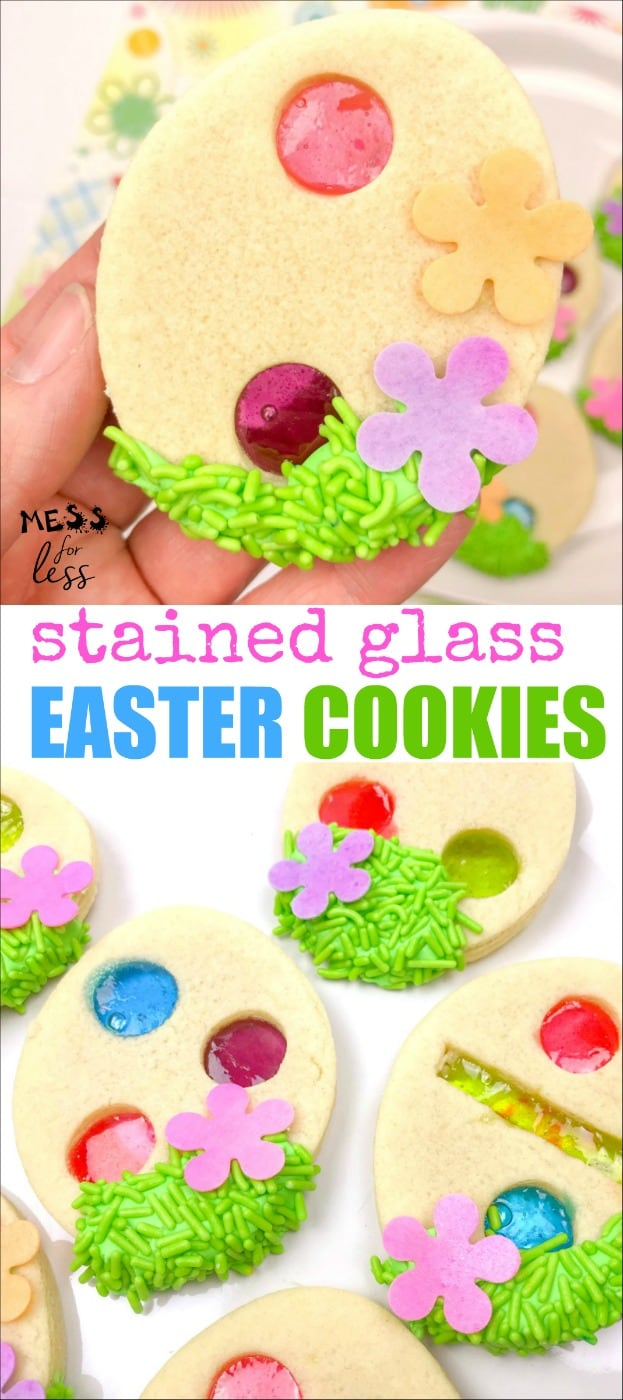 This stained glass Easter cookie recipe is perfect to make for you egg hunt or Easter gathering. #easter #eastercookies