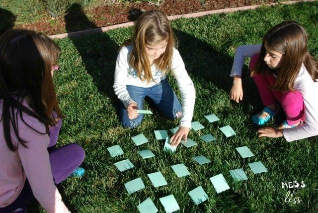 kids playing a memory game