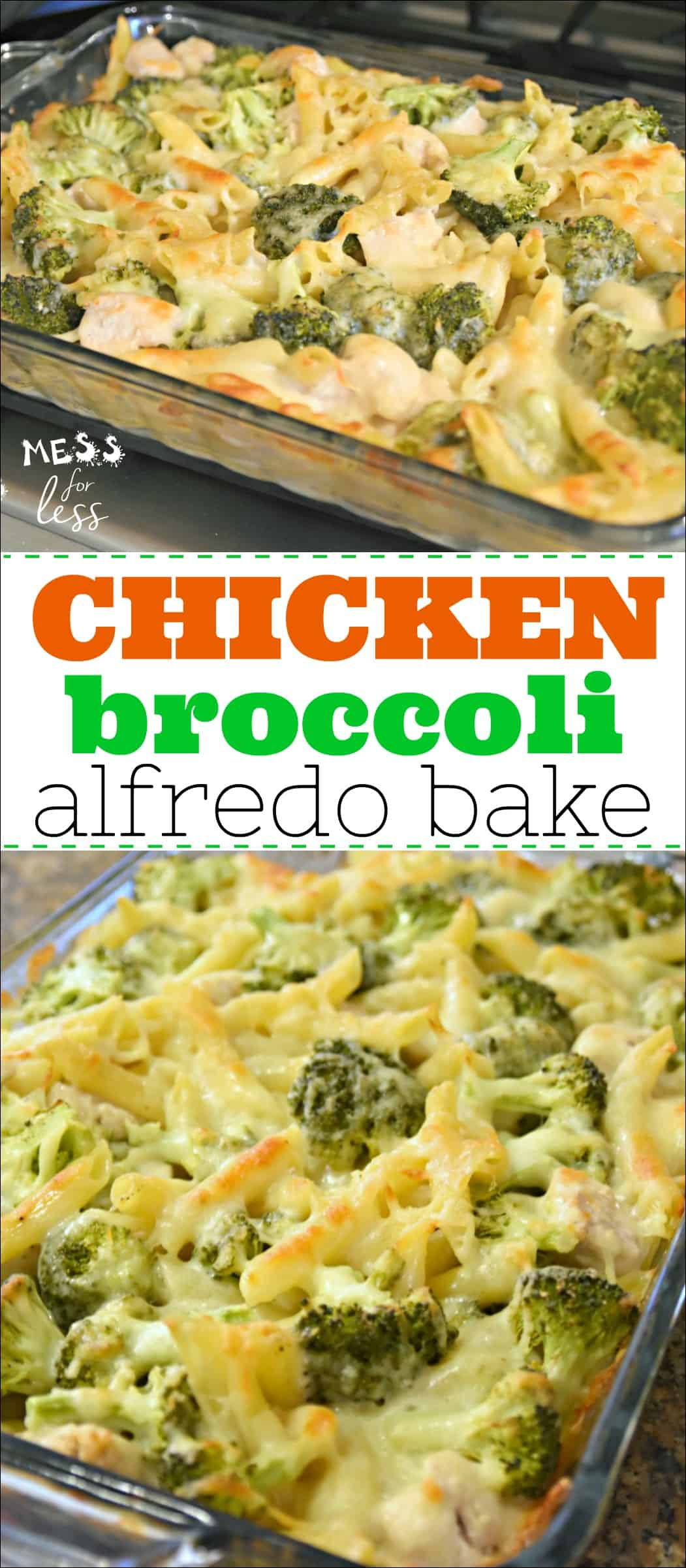 This Chicken Broccoli Alfredo Bake is a favorite in my family. It is simple and straightforward to make, as most comfort food is, and is a great way to get kids eating more protein and veggies. The creamy, cheesiness of this dish makes it a hit! #casserole #chickenbroccolialfredobake #recipe #easyrecipe