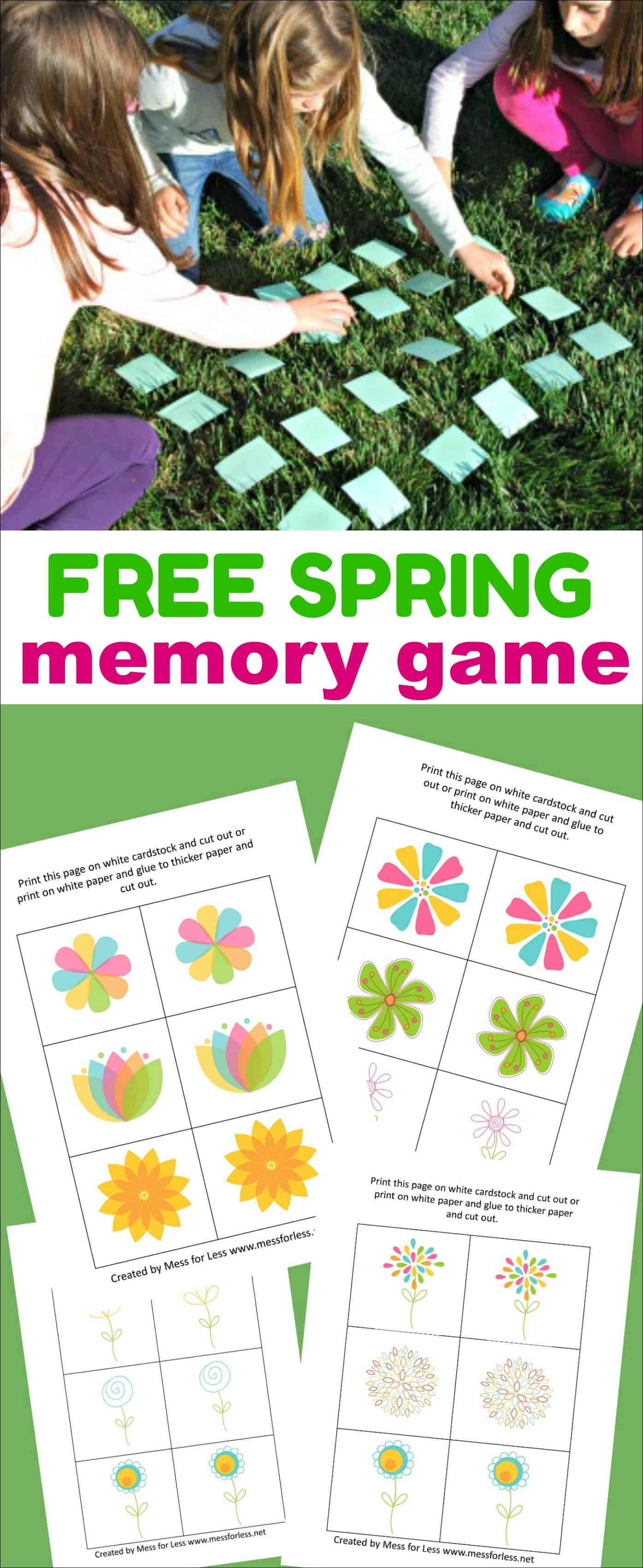 Download this free Spring Memory Game and enjoy it with your kids. Just print and play! #freeprintables #memorygame #springactivities
