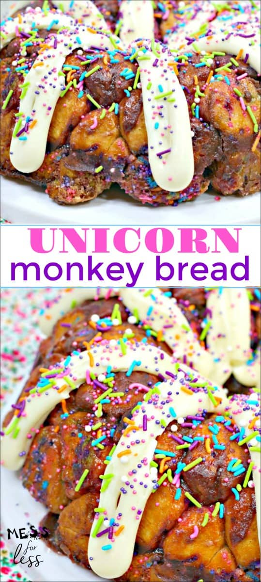Unicorn Monkey Bread Recipe -perfect for the unicorn lover in your life. Monkey bread is even more fun when it is decorated in a fun unicorn style. #unicorn #monkeybread #monkeybreadrecipe