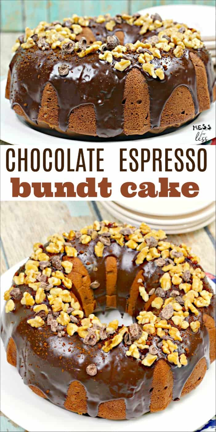 This Chocolate Espresso Bundt Cake is perfect for coffee lovers. You get all the goodness of the chocolate with the rich flavor of espresso. #bundtcake #chocolate #espresso