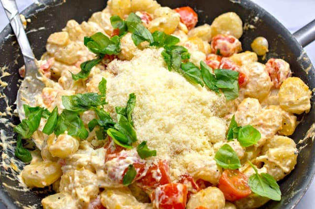 gnocchi with Parmesan cheese and basil