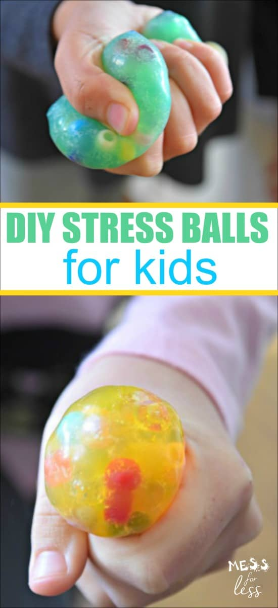 These DIY Stress are fun to make with kids and there are many options to personalize them. Best of all, they feel amazing when squeezed and they make a great fidget toy. #sensory #stressballs