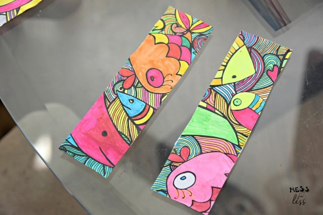 fish bookmarks colored with marker