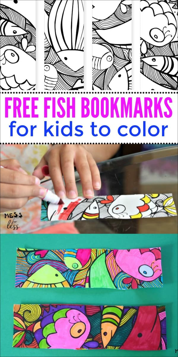 Download these free fish bookmarks to color. Kids can decorate them any way they wish and never lose their spot in a book again. #kdisactivities #bookmarks #printable #freecoloring #coloringprinatble