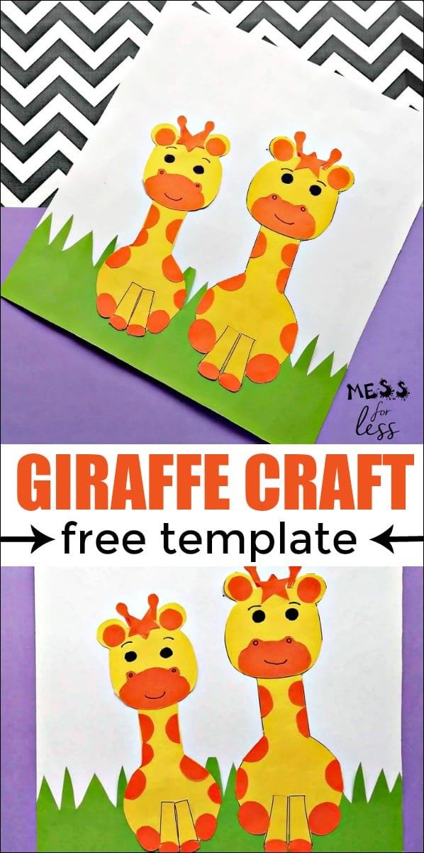 This giraffe craft for kids is perfect for your little giraffe lover. It is also fun for adults to do as well. I have included a free giraffe template so you can easily make this giraffe craft. #giraffecraft #kidsactivities #kidscrafts