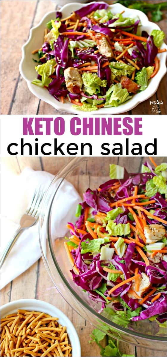 I love this recipe for Keto Chinese Chicken Salad. I can enjoy all of my favorite flavors at home and stay on program. If you are not on the keto program feel free to add chow mein noodles. #keto #ketorecipe #chinesechickensalad