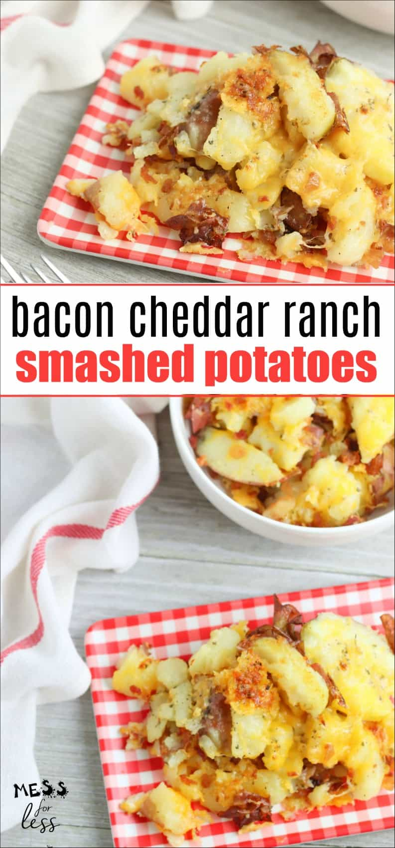 These Bacon Cheddar Ranch Smashed Potatoes make the perfect side dish and cook up in just 30 minutes. Your family will ask for them again and again! #smashedpotatoes #potatoes #easysidedish #potatorecipe