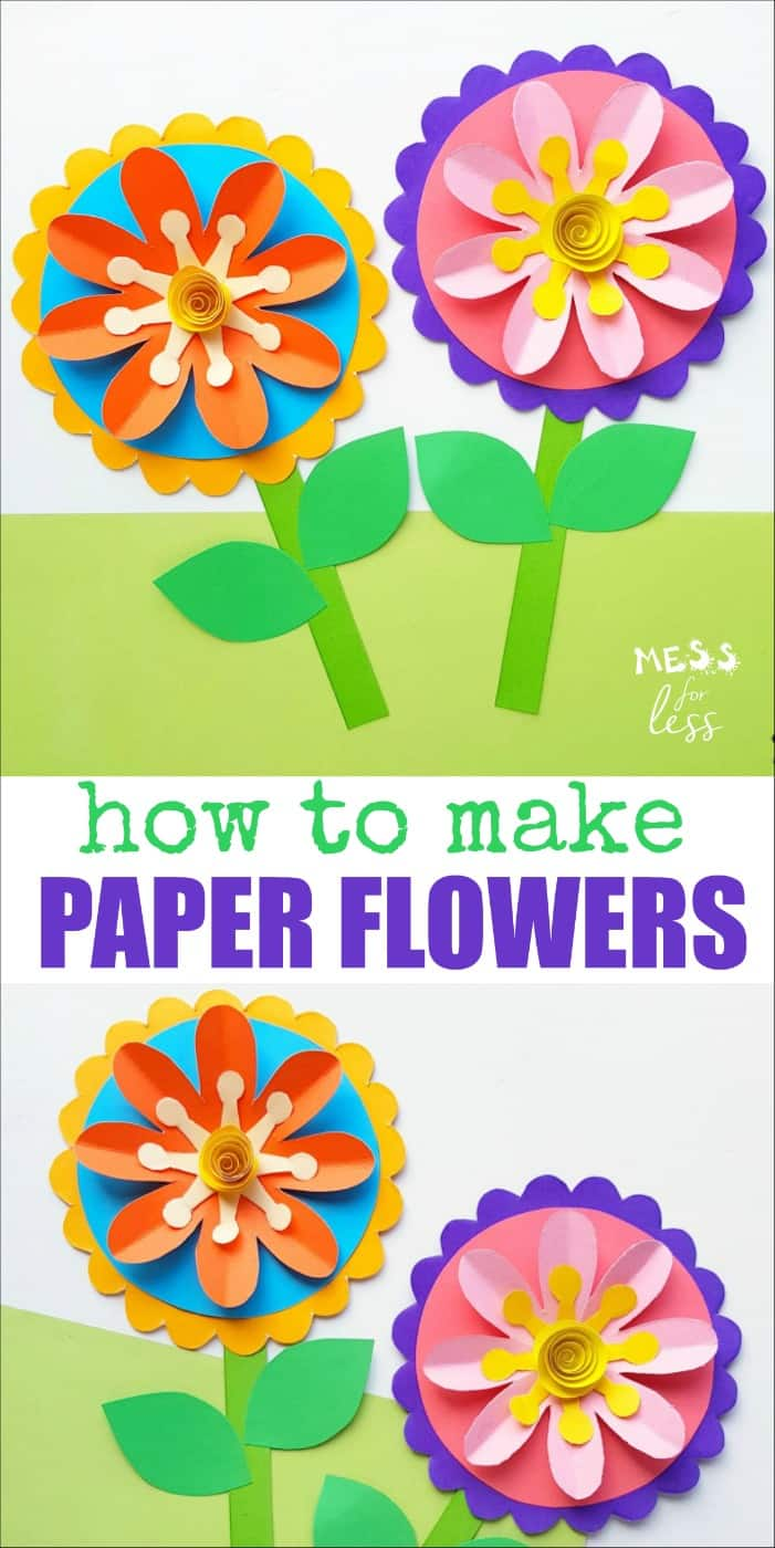 This Flower Craft Idea is easy to make with a template that you can download for free. Colorful and pretty, these flowers are perfect for kids to create. #craft #papercrafts #flowercraft #kidscrafts