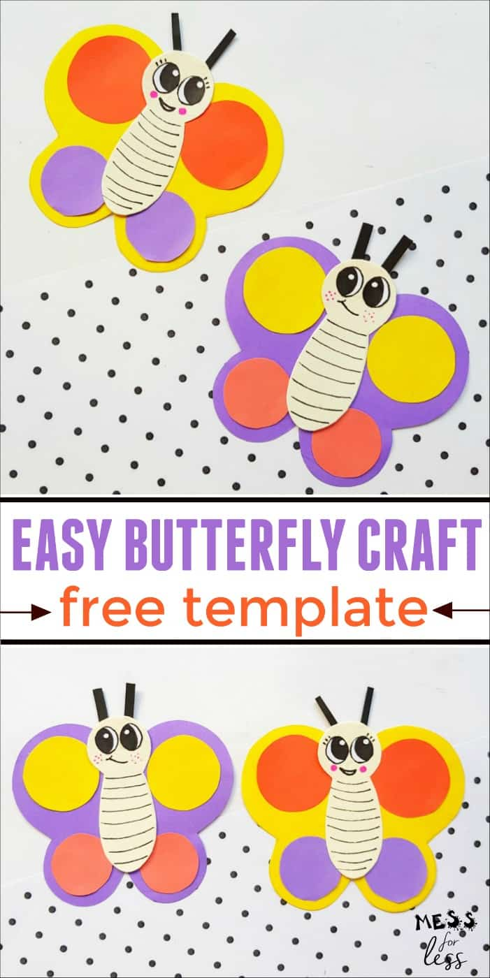 Learn how to make a paper butterfly. I've even included a free template for you to download to make this butterfly. This easy craft for kids is perfect for your little butterfly lover. #craft #papercraft #butterflycraft #kidsactivity