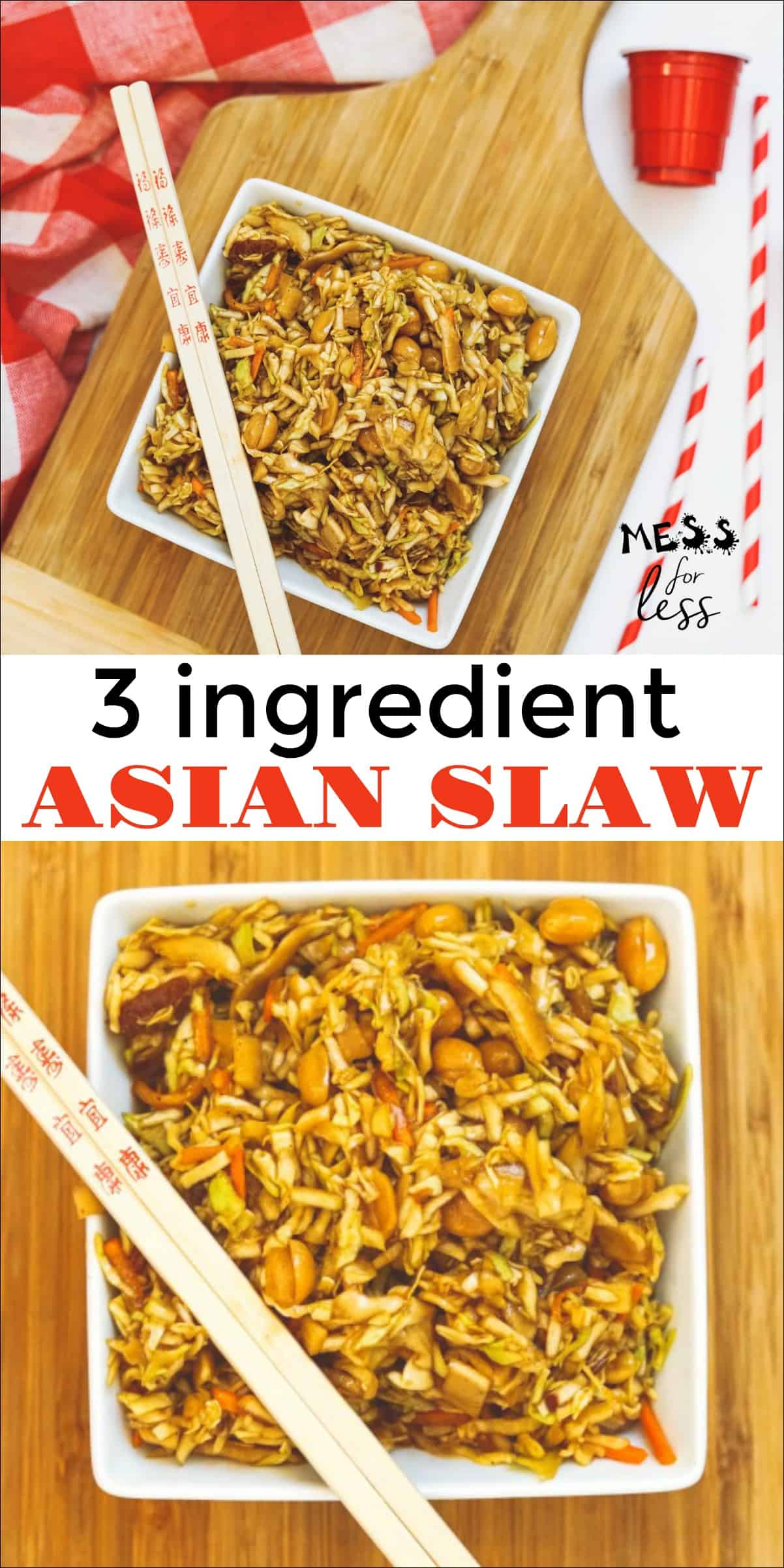 This 3 Ingredient Asian Slaw Recipe makes a great side dish. You'll love all the different flavors and textures going on. It can be served as a side to an Asian inspired meal or with chicken as a meal. You won't believe how easy it is to make! #asianslaw #Asiansalad